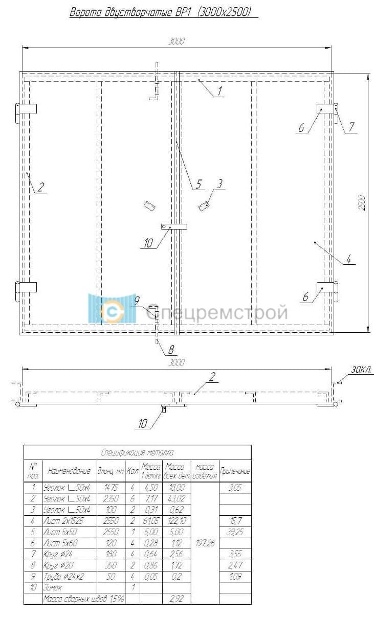 Распашные ворота своими руками чертеж схема конструкция